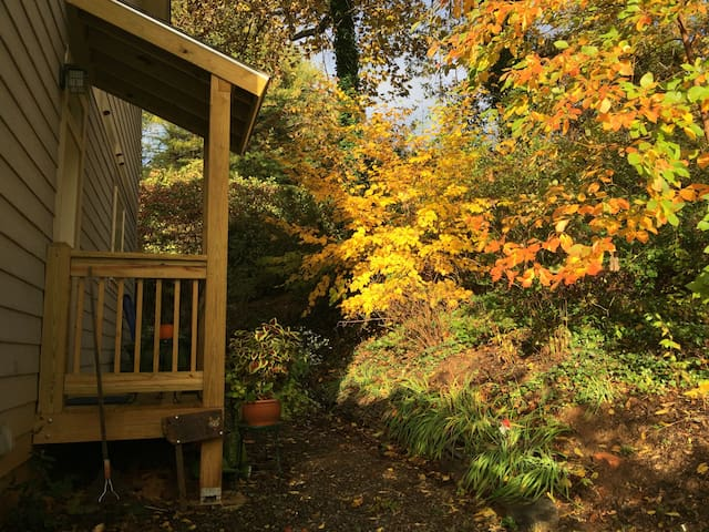 Let yourself into your private space with a keypad lock. The leaves are peaking right now!