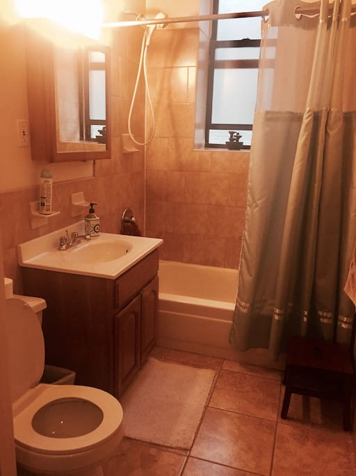 Clean and refreshing bathroom with a window. Use as you please! Fresh towels will be provided