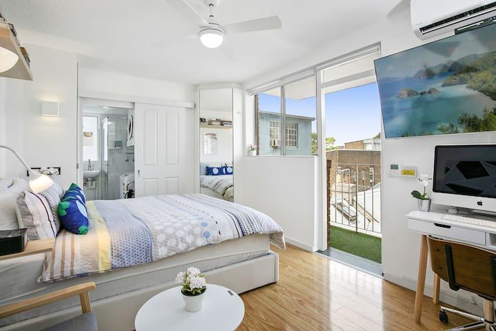 SUPER LOCATION-modern Designer Studio-Balcony & AC