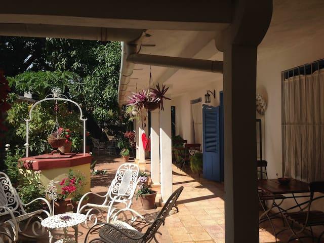 Jardín  y Terraza.Casa Hostal Buscando a Caniquí