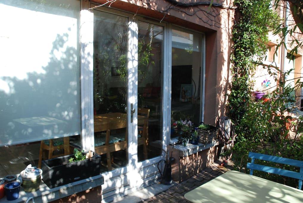 la terrasse et la baie vitrée