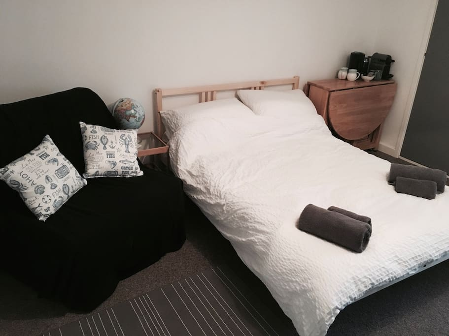 Double bed & Chair bed that can accommodate up to 3 people per night.
