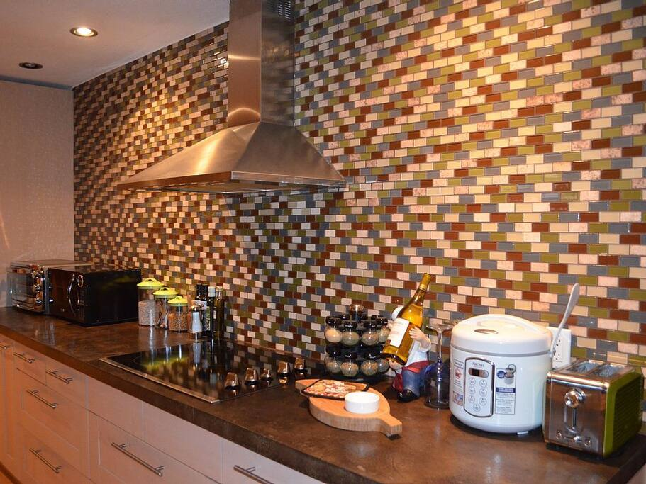 Gallery Kitchen with Glass Tiles & Like New Appliances & Dishware