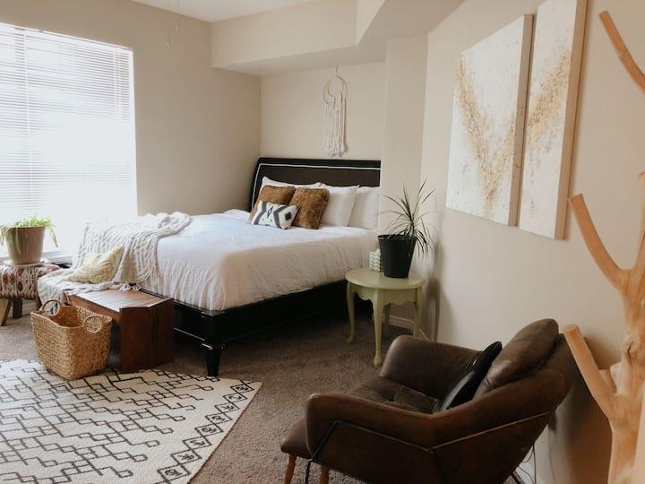 Comfy Boho Modern Bedroom and Private Bathroom
