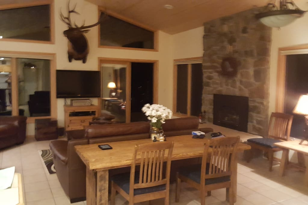 The great room is perfect for family time watching Videos or the gas fireplace.