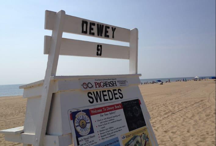 Beach block, dog-friendly Dewey vacation home!