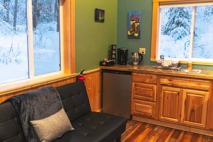 You can cozy up with a cup of cocoa while stile enjoying the beautiful scenery out of these big windows.