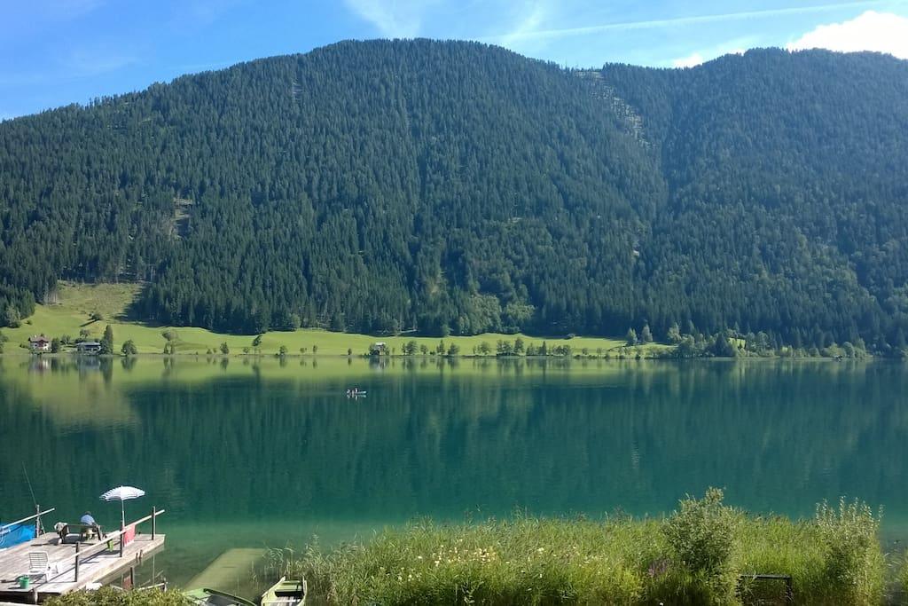Romantische Aussichten  Chalets Zöhrer - Wohnen am Wasser, Ferienwohnungen direkt am See (Weissensee, Kärnten, Ös-terreich), apartments, directly at the lake