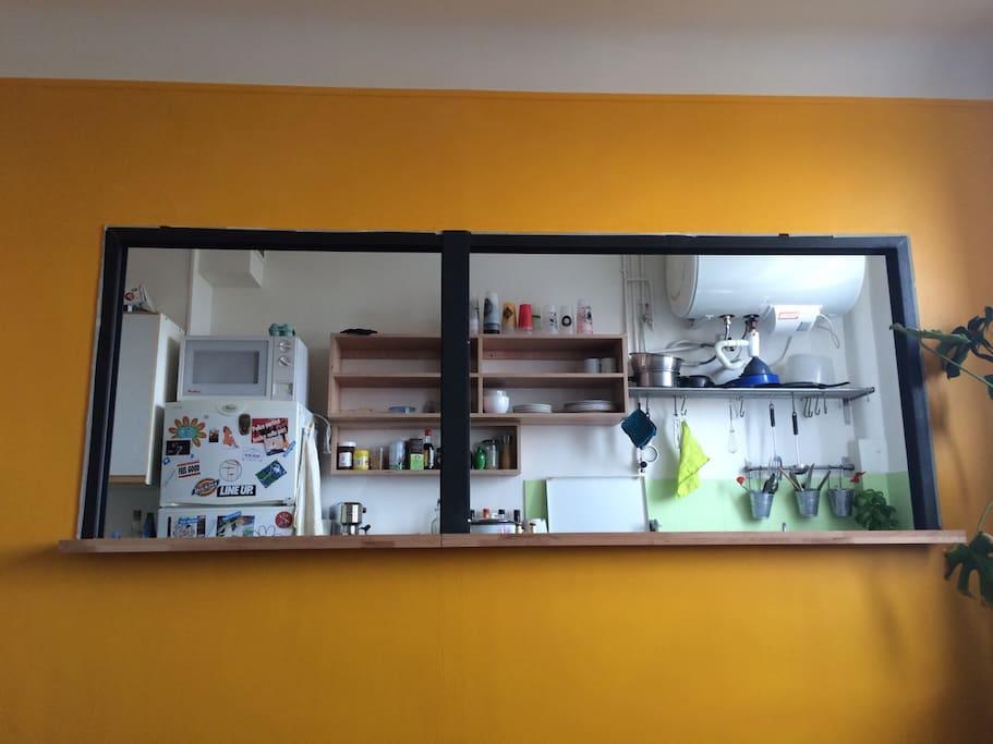 ouverture / bar entre salon et cuisine