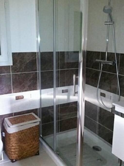 salle de bain avec douche ,meuble une vasque, toilette, sèche serviette