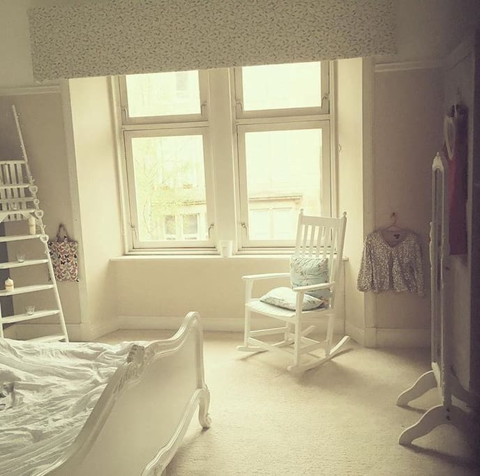 Large double bedroom (bedroom 1) with super king size bed and original fire feature