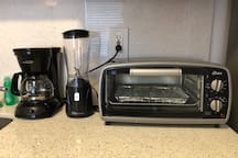 coffee maker, Toaster oven and personal drink blender.