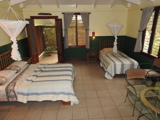 Beds side with balcony acces