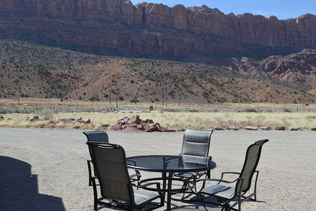 View from RV Park. Patio furniture set with RV