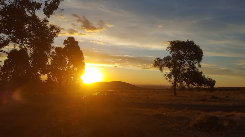 The sunset in the backyard
