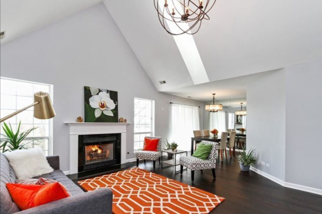 Living Room with view of Dining Room, Gas Fireplace