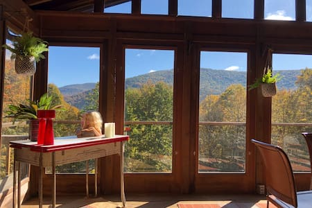 Charming Catskills mountainside log home with view