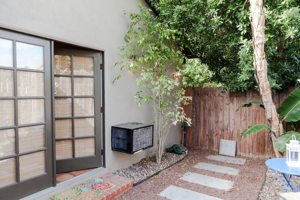 The patio is secluded from the neighbors and surrounded by trees which gives plenty of privacy.