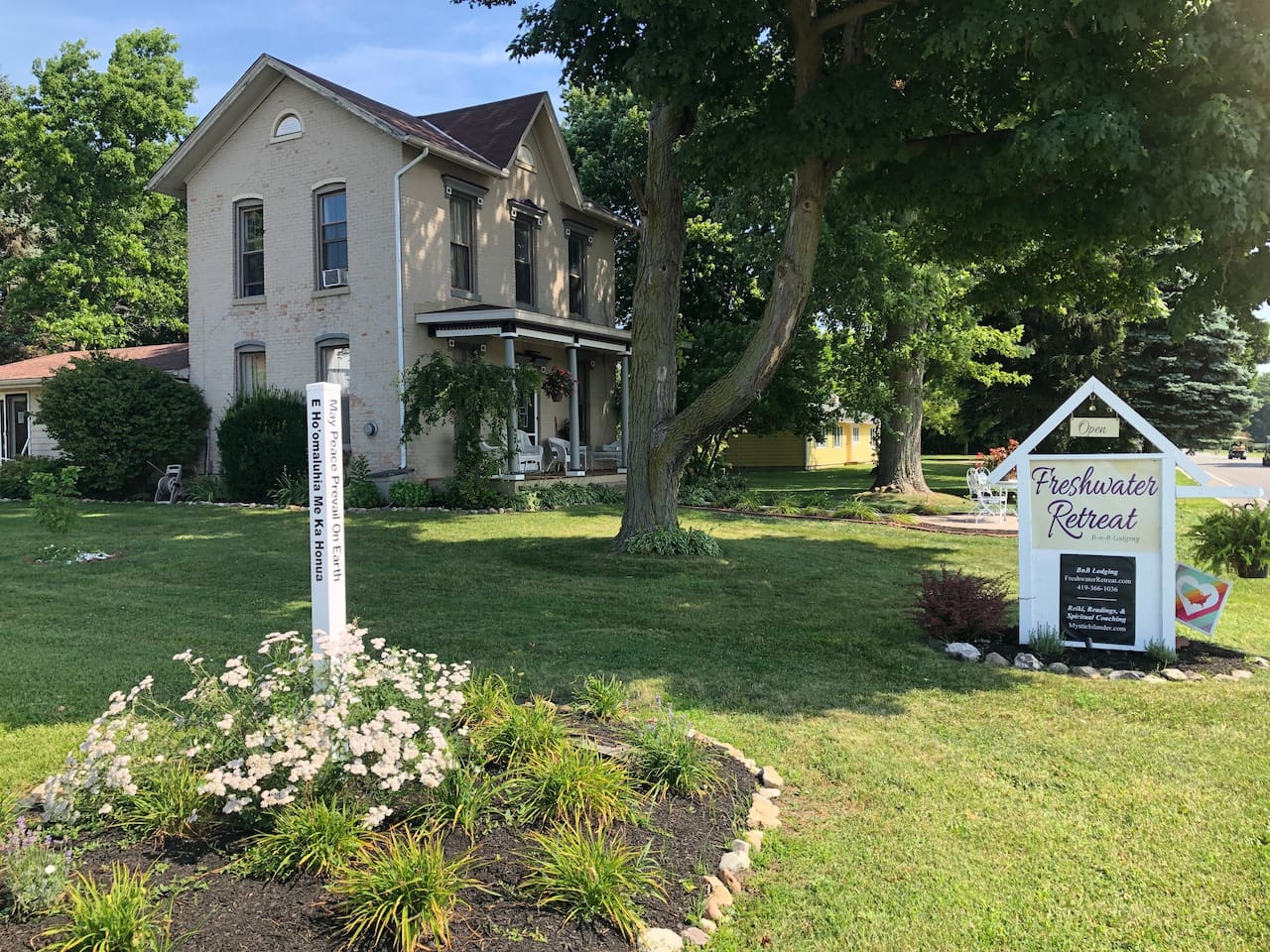 Peace and love abound on our property! Built in 1860, this is the first brick home ever built on Put-in-Bay.