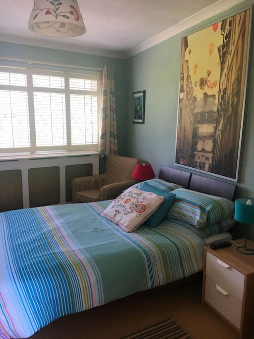 A comfortable and spacious double bedroom, which comes with a mini fridge and kettle with tea and coffee plus flavoured teas.