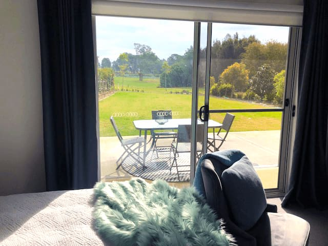 Room with a view,  rear patio with views of 1st hole of golf course. Spot kangaroos and hot air balloons.