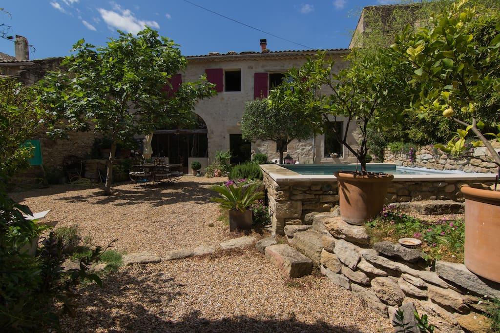 Le jardin et la maison vus de l'entrée.