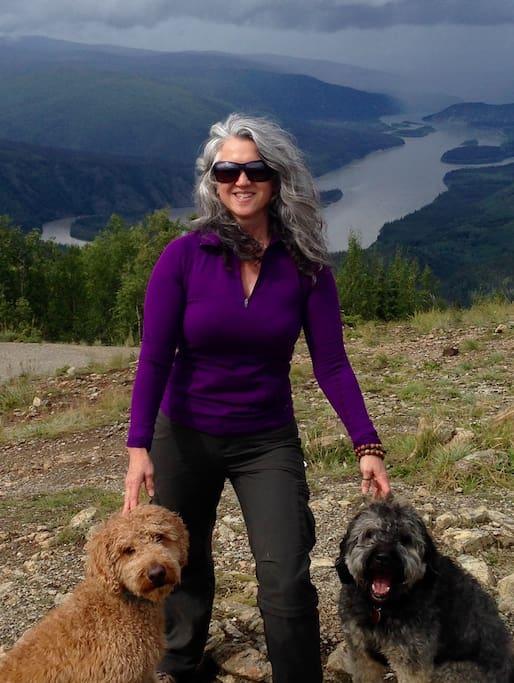 Hi, I'm Dana with my hiking buds and maintenance crew managers Sirius and Fergus.