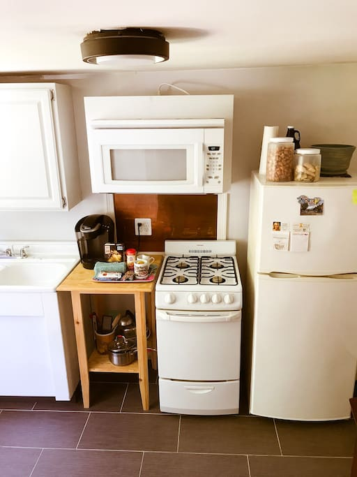 Fully equipped kitchen! Breakfast snacks and keurig for your morning cup of joe.