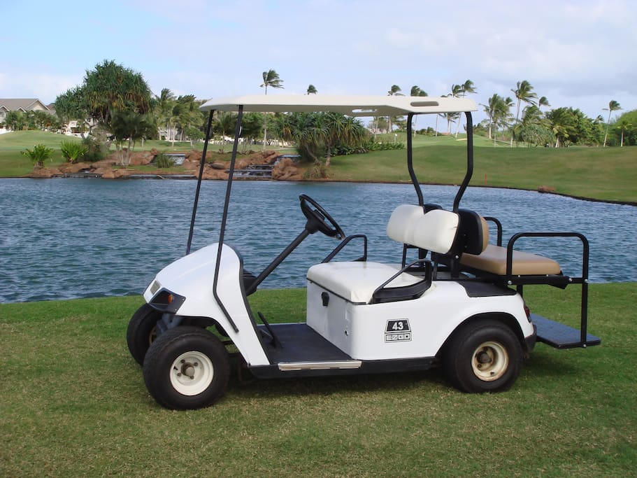 You'll enjoy using our golf cart to get around the Ko Olina Resort. It is a must have to take your beach items to the lagoons!