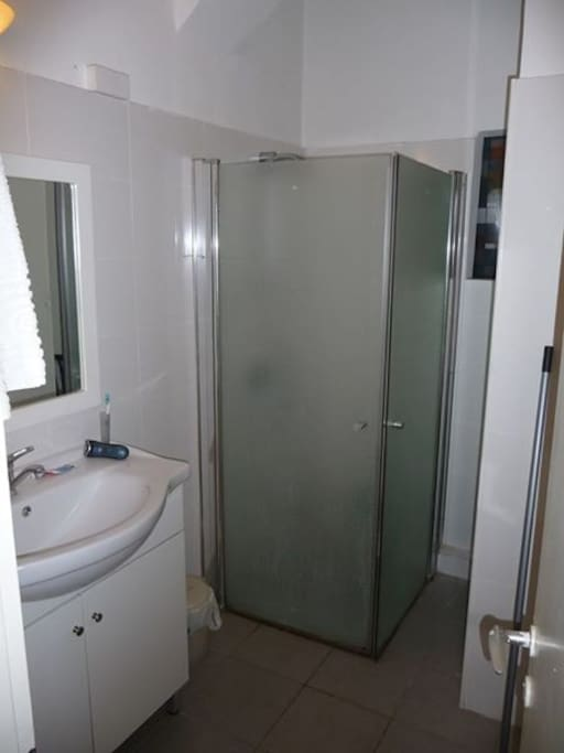 Shower, sink and lots of storage space