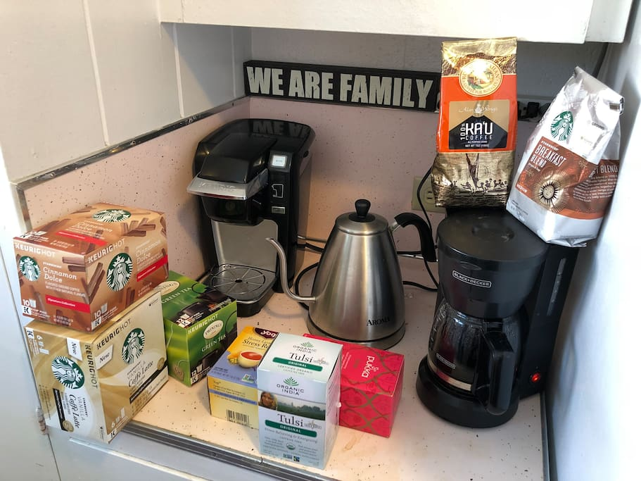 Expresso latte machine, Keurig coffee machine (K-cup), or tea kettle, free coffee (Starbucks or local Hawaiian coffee) and organic and local tea - help yourself!
