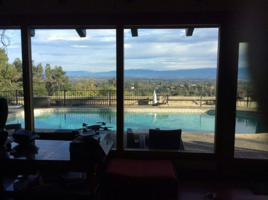 View from family room to backyard/pool area