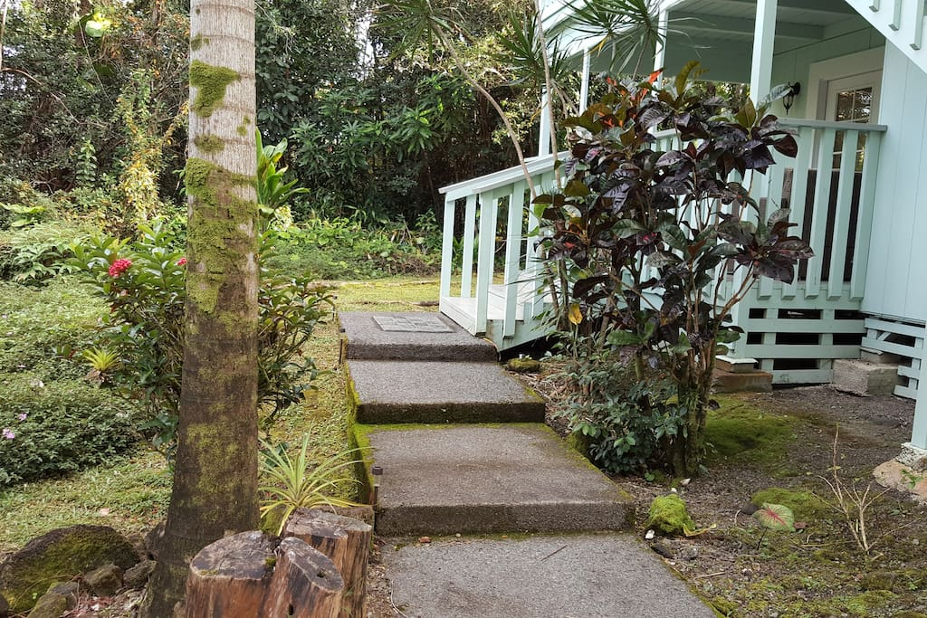 Steps to downstairs Lanai from driveway