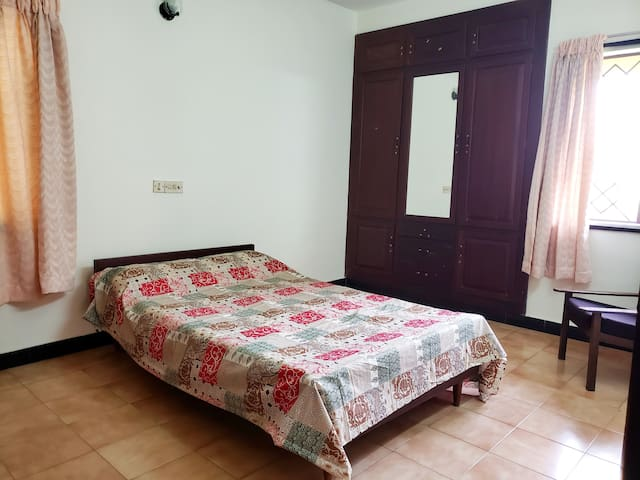 Spacious bedroom 2 with ceiling fan (No AC)