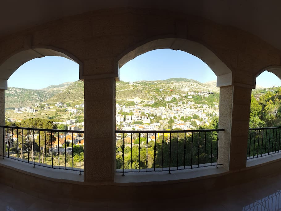 View from the main living room over the South Mountains of Lebanon.