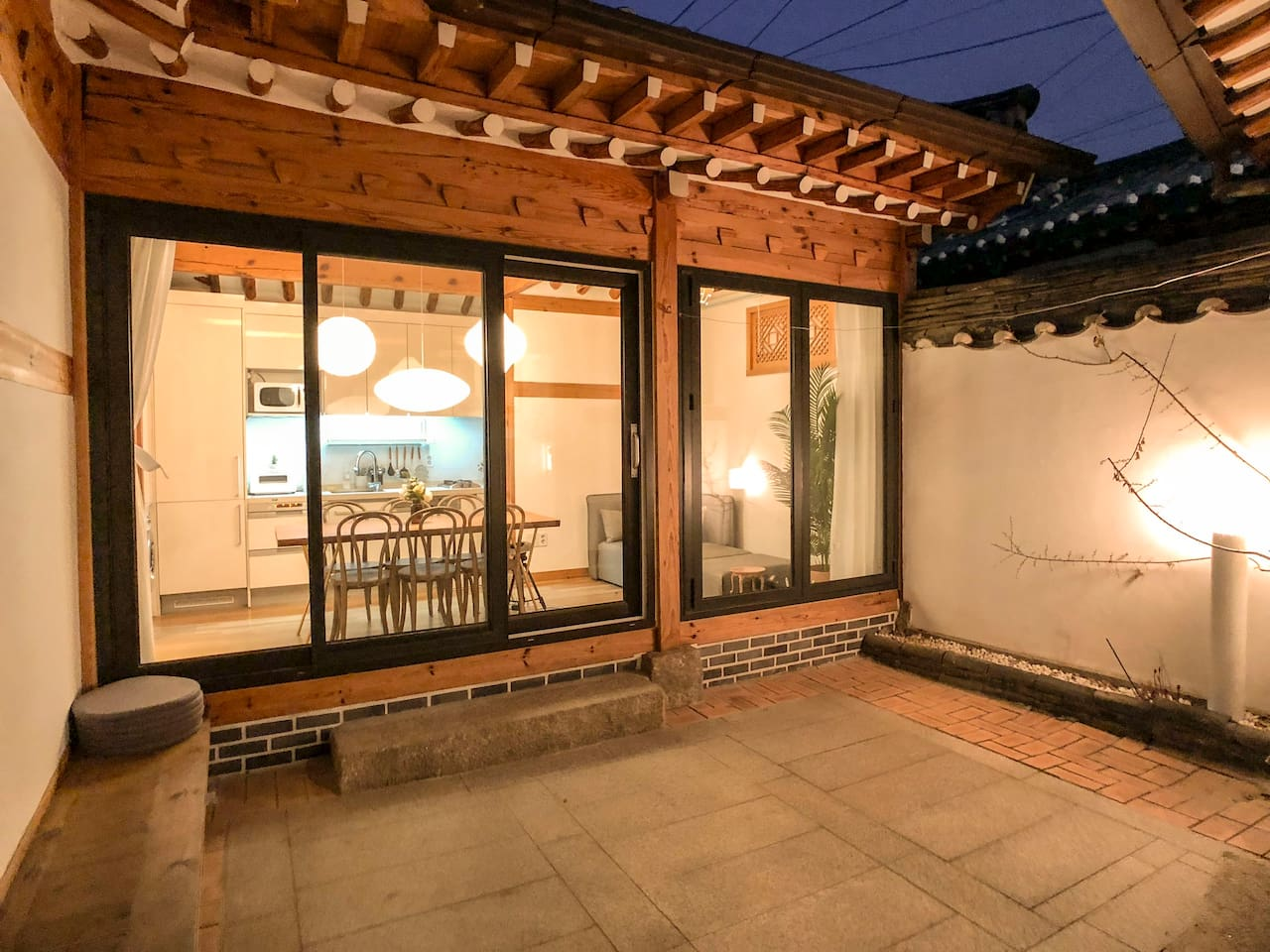 Renovated Hanok in Feb - this is the large living room with an attached bedroom#1/bathroom#1