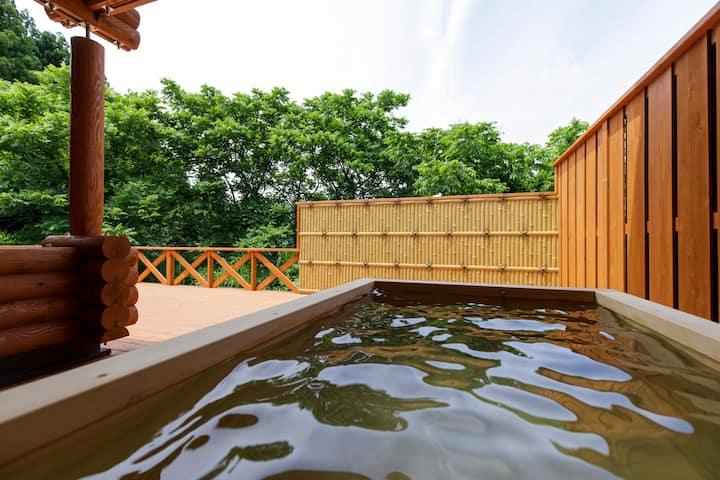 天然温泉露天風呂付きログハウス Natural Hot Spring With Log House