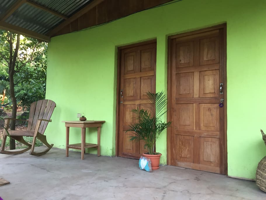 Shared porch with one other guest room.
