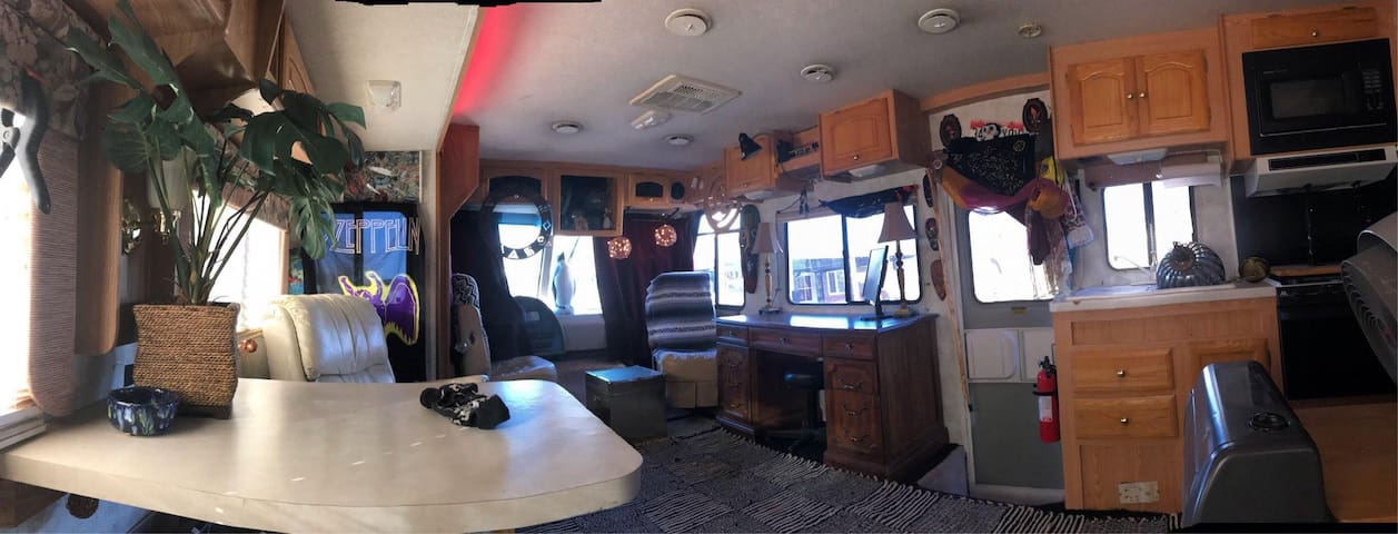 35' RV + big yard with gardens and fire pit