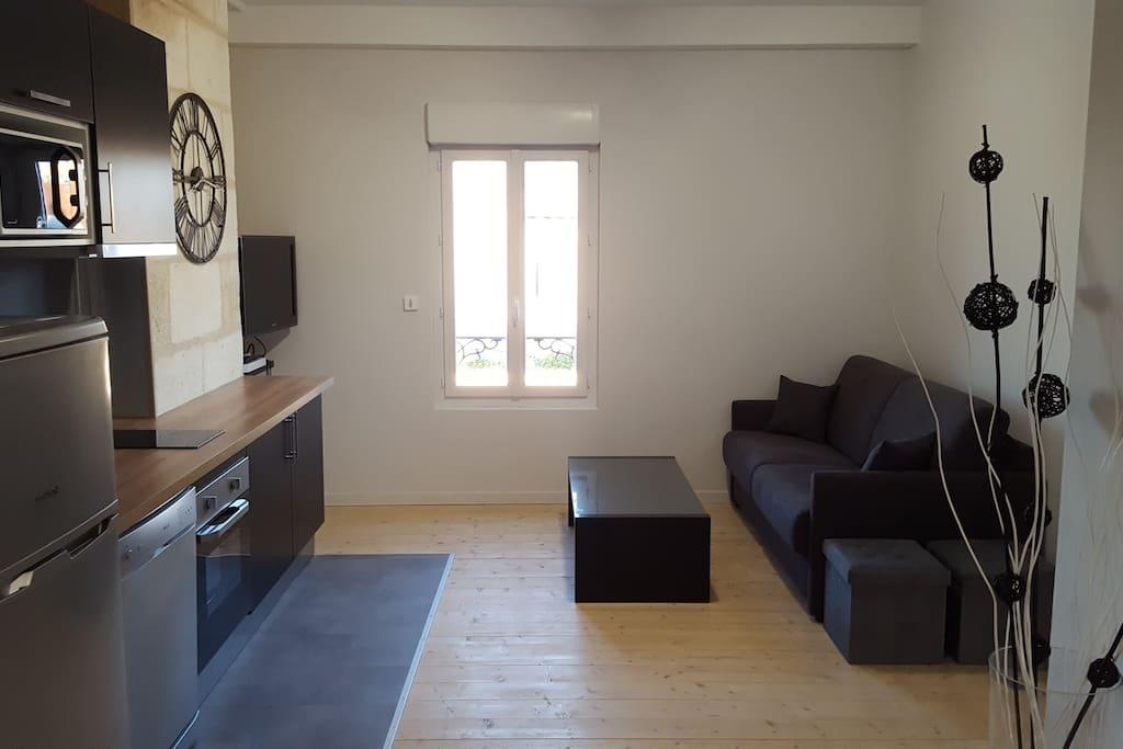 Salon confortable avec table basse, TV HD par internet
