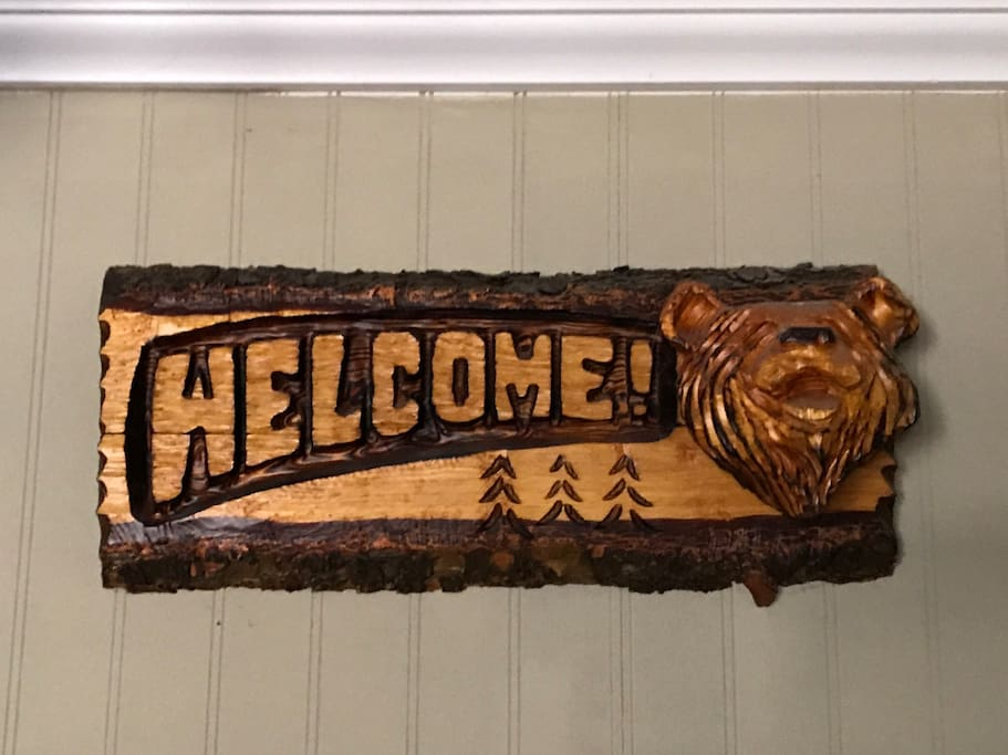 Welcome bear sculpture carved by local artist will greet you upon your arrival.