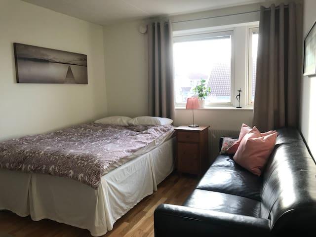 Sovrum med dubbelsäng 140 cm bred. Soffa och skrivbord.  Hårfön, microvågsugn, liten kyl, vattenkokare, te och kaffe finns på rummet.