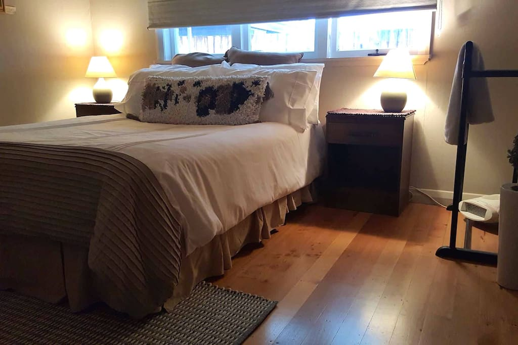 Super comfy bed & beautiful wooden floors