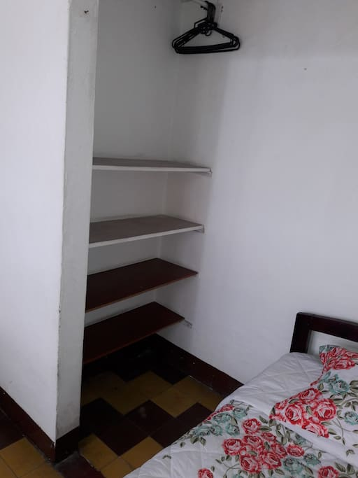 The room has two closets, One per person and it has access to the balcon.