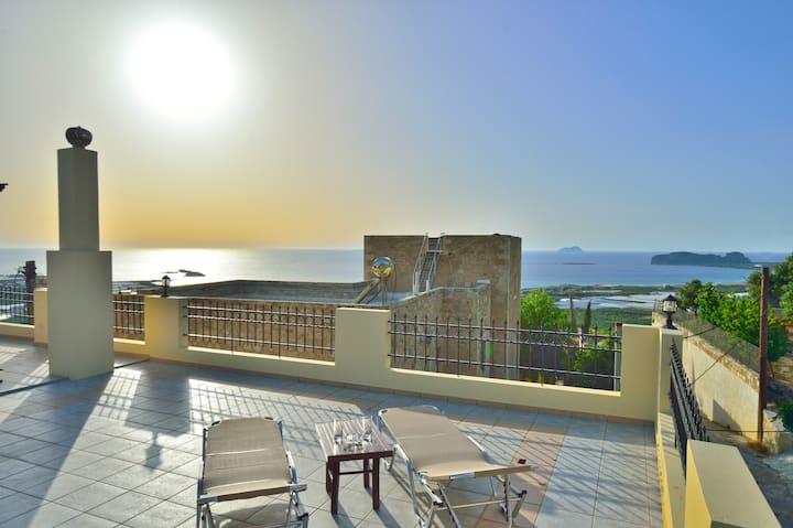 Villa Ilias-view to Falasarna,cleaning protocol