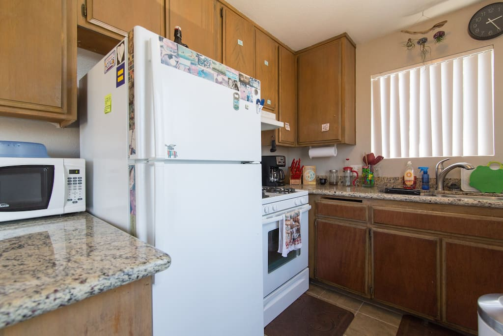 Your stocked kitchen, complete with a Cutco Knife set, pots & pans, coffee maker, and plenty of fridge space for your leftovers.