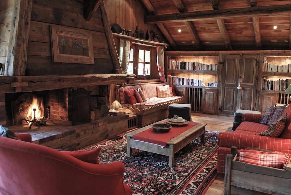 Le salon avec bibliothèque, TV et cheminée