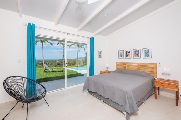Blue room also has access to pool deck and pool views.