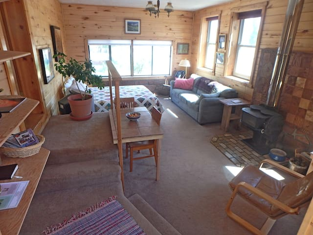 View of whole room with stairs leading up to kitchen and bathroom