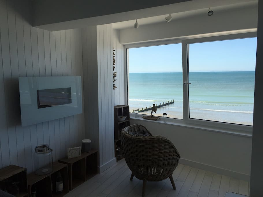 Electric Fire, full central heating and great view straight onto the beach.